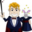 Royalty-Free Stock Vectorielle: magician pulls out a rabbit from a hat