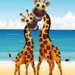 Cute couple giraffe cartoon with beach background — Stock Vector
