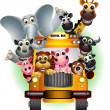 Funny animal on yellow school bus — Imagens vectoriais em stock