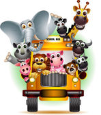 Funny animal on yellow school bus — Cтоковый вектор