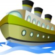 Stock Vector: Big cartoon steamship