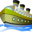 Big cartoon steamship — Stock Vector