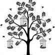 Tree silhouette with birds flying and bird in a cage — Stock Vector #24446319