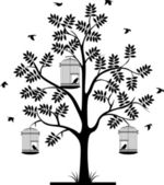 Tree silhouette with birds flying and bird in a cage — Cтоковый вектор