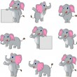 Cute elephant cartoon collection — Stock Vector