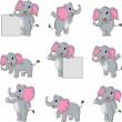 Cute elephant cartoon collection — Stock Vector #25338413