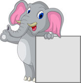 Cute elephant cartoon with blank sign — Stock Vector