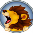 Angry head lion cartoon roaring — Stock Vector