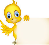 Cute chick cartoon with blank sign — Stock Vector