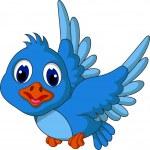 Funny blue bird cartoon flying — Stock Vector #25444271