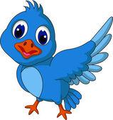 Funny blue bird cartoon posing — Stock Vector
