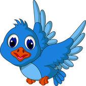 Funny blue bird cartoon flying — Stock Vector