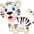 Cute baby white tiger walking — Stock Vector