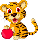 Cute baby tiger posing with pink ball — Stock Vector