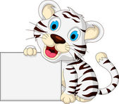 Cute baby white tiger posing with blank sign — Stock Vector