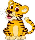 Tigre bebê fofo sentado — Vetorial Stock