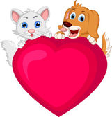 Dog and cat cartoon holding love heart — Stock Vector
