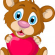 Cute little brown bear cartoon holding heart love — Stock Vector