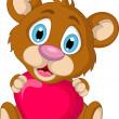 Cute little brown bear cartoon holding heart love — Stock Vector
