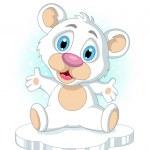 simpatico cartone animato little polar bear alzando la mano — Vettoriale Stock