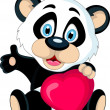 Cute Baby panda holding love heart — Stock Vector