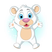 Pequeño oso polar de dibujos animados lindo levantando su mano — Vector de stock