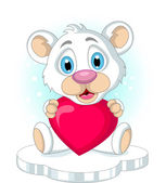Roztomilý malý lední medvěd drží srdce love — Stock vektor