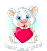 ładny mały miś polarny gospodarstwa serca miłość — Wektor stockowy
