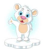 ładny mały kreskówka niedźwiedź polarny, podnosząc rękę — Wektor stockowy