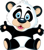 Cute Baby panda rising his hand — Stock Vector