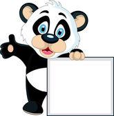 Cute Baby panda holding blank sign — Stock Vector