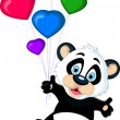 Stock Vector: Cute baby panda holding balloon's