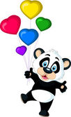 Cute baby panda holding balloon's — Stock Vector