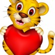Cute liitle baby tiger posing with heart love — Stock Vector
