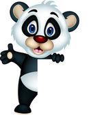 Lindo bebé panda posando con signo en blanco — Vector de stock