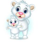 Cute baby polar bear posing with his son — Stock Vector