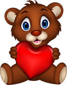Cute baby brown bear cartoon posing with heart love — Stock Vector
