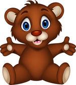 Cute baby brown bear cartoon posing — Stock Vector