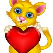 Cute Cat holding heart love — Stock Vector