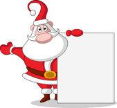 Cute christmas santa claus with blank sign — Stock Vector