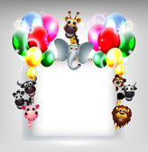Birthday background with balloon and animal safari on blank sign — Stock Vector