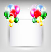 Balloons with blank sign for birthday background — Stock Vector