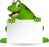Frog cartoon with blank sign — Stock Vector