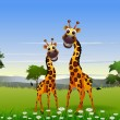 Cute couple giraffe cartoon with landscape background — Stock Vector