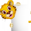 Cute baby tiger posing with sign — Stock Vector #26660923