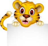 Cute baby tiger posing with sign — Stock Vector