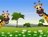 Cute couple giraffe cartoon with landscape background — Stock Vector