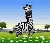 Cute zebra cartoon with nature background — Stock Vector