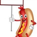 Hot dog cartoon holding blank sign — Stock Vector #27016675