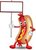 Hot dog cartoon holding blank sign — Stock Vector